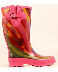 Blazin Roxx Rose Watercolor Rain Boots - Round Toe