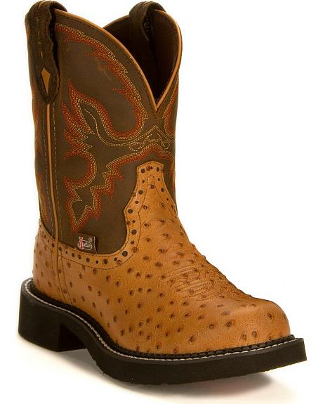 Justin Cognac Ostrich Print Gypsy Boots
