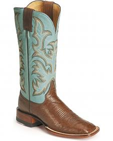 Justin Remuda Ostrich Cowgirl Boots - Square Toe