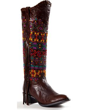 Johnny Ringo Womens Sagrada Fringe Knee-High Boots - Round Toe