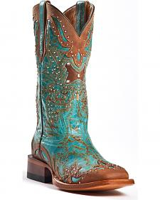Johnny Ringo Women's Fancy Studded Wingtip Western Boots - Square Toe
