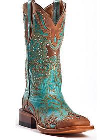 Johnny Ringo Women's Fancy Studded Wingtip Western Boots - Square Toe