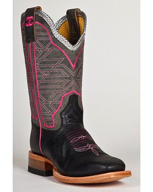 Cinch Edge Womens Eel Print Cowgirl Boots - Square Toe