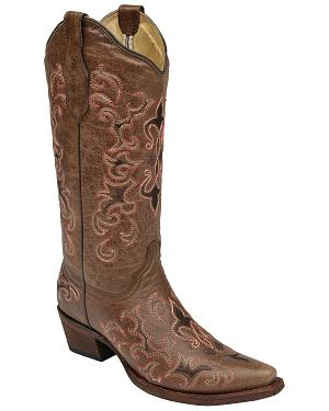Circle G Womens Pink Fleur de Lis Cowgirl Boots - Snip Toe