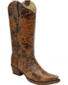 Circle G Women's Spotted Leather Cowgirl Boots - Snip Toe