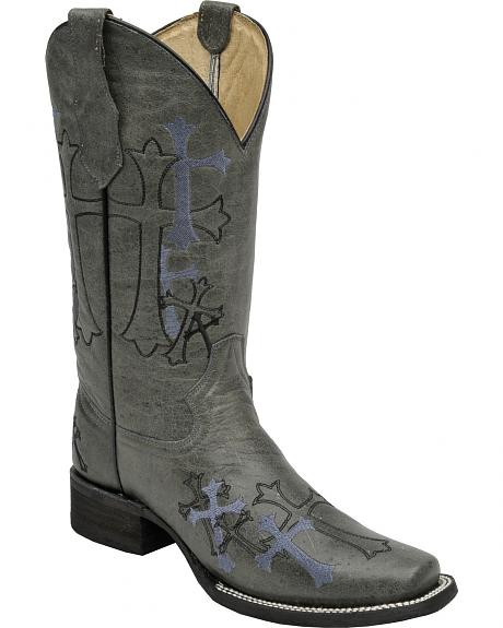 Circle G Women's Embroidered Crosses Cowgirl Boots - Square Toe