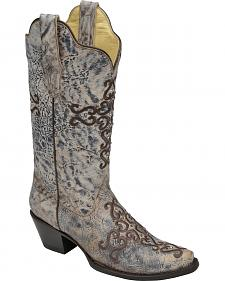 Corral Cross Embroidery and Crystal Cowgirl Boots - Snip Toe