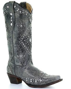 Corral Glitter Inlay Cowgirl Boots - Snip Toe
