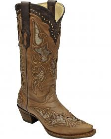 Corral Women's Ostrich Leg Inlay Cowgirl Boots - Snip Toe
