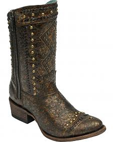 Corral Women's Studded Ethnic Zippered Shorty Cowgirl Boots - Round Toe