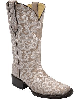 Corral Womens Lace Embroidered Cowgirl Boots - Square Toe