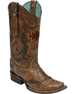 Corral Cognac Multi-Color Ethnic Whip Stitch Cowgirl Boots - Square Toe