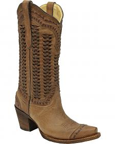 Corral Braided Shaft Cowgirl Boots - Snip Toe
