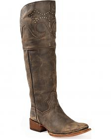 "Dan Post Women's MissTaken 18"" Sanded Leather Cowboy Boots - Square Toe"