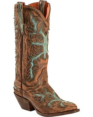 Dan Post Vintage Distressed Touche Cowgirl Boots