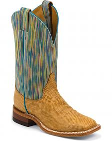 Justin Bent Rail Watercolor Cowhide Cowgirl Boots - Square Toe