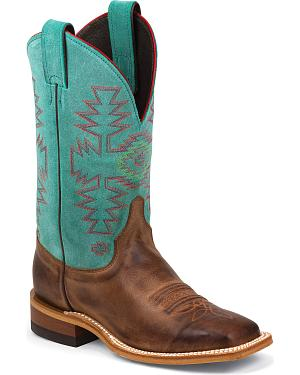 Justin Bent Rail Teal Cowhide Cowgirl Boots - Square Toe