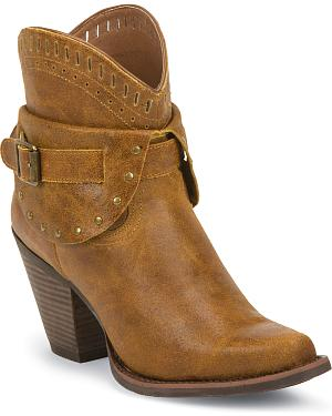 Justin Silver Womens Leather Studded Buckle Short Boots - Snip Toe