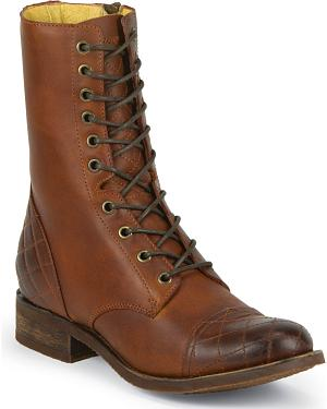 Justin Womens Bay Apache 8 inch Side-Zip Lace-Up Boots