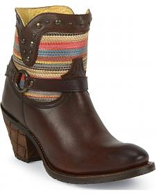 Justin Women's Leather Studded Woven Short Boots - Round Toe