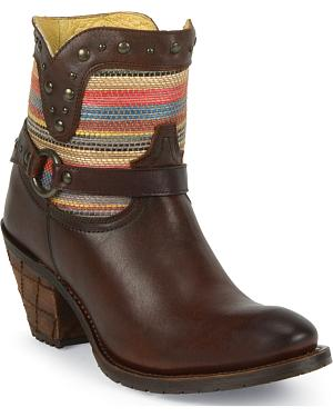 Justin Womens Leather Studded Woven Short Boots - Round Toe