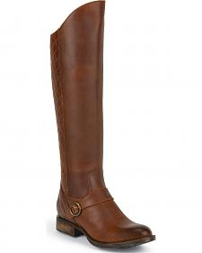 Justin Women's Tall Pull-On Leather Riding Boots - Round Toe