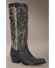 Frye Women's Deborah Deco Tall Cowgirl Boots - Round Toe