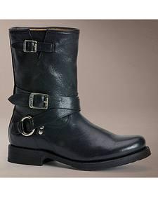 Frye Veronica Criss Cross Black Short Boots