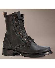 Frye Veronica Black Combat Boots