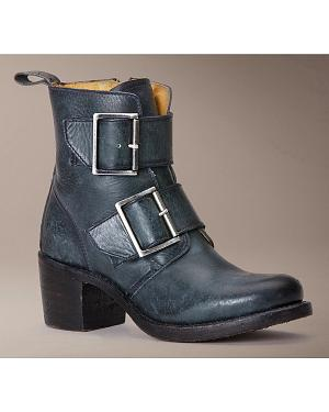 Frye Womens Sabrina Double Buckle Short Boots