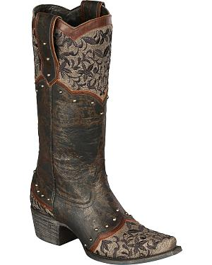 Lane Kimmie Embroidered Cowgirl Boots - Snip Toe