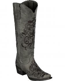 Lane Tiffany Embroidered Distressed Cowgirl Boots - Snip Toe