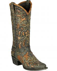 Lane Robin Embroidered Waxed Black Cowgirl Boots - Snip Toe