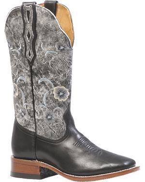 Boulet Womens Torino Black Thunder Blanco Cowgirl Boots - Square Toe