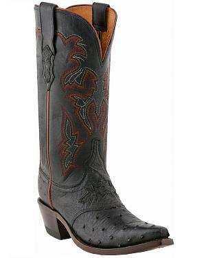Lucchese Womens Augusta Full-Quill Ostrich Cowgirl Boots - Snip Toe