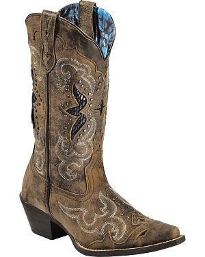 Laredo Womens Lucretia Studded Snake Inlay Cowgirl Boots - Snip Toe