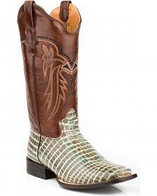 Roper Women's Embossed Crocodile Cowgirl Boots - Square Toe