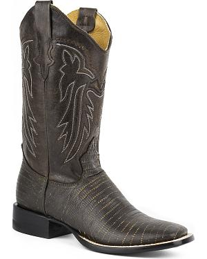 Roper Womens Lizzy Faux Teju Leather Cowgirl Boots - Square Toe