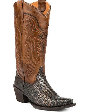 Roper Womens Lizzy Faux Metallic Teju Leather Cowgirl Boots - Snip Toe
