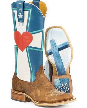 Tin Haul Womens 1 John 4:19 Cowgirl Boots - Square Toe