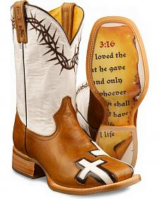 Tin Haul Women's Between Two Thieves & John 3:16 Cowgirl Boots - Square Toe