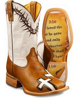 Tin Haul Womens Between Two Thieves & John 3:16 Cowgirl Boots - Square Toe