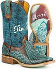 Tin Haul Womens Tribal Feathers Cowgirl Boots - Square Toe
