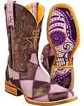 Tin Haul Sugar Skull Checkerboard Cowgirl Boots
