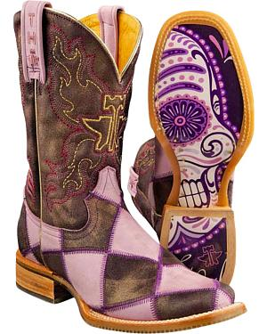 Tin Haul Sugar Skull Checkerboard Cowgirl Boots - Square Toe