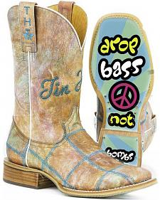 Tin Haul Women's Hippie Check Cowgirl Boots - Square Toe