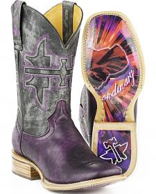 Tin Haul Women's Purple Hibiscus Cowgirl Boots - Square Toe