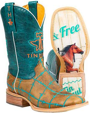 Tin Haul Women?s Wild and Free Cowgirl Boots - Square Toe