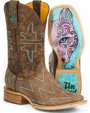 Tin Haul Womens Zig Zag Sly Fox Cowgirl Boots - Square Toe