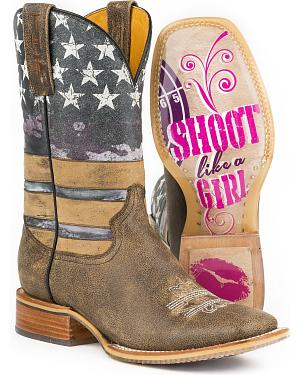 Tin Haul American Woman Cowgirl Boots - Square Toe